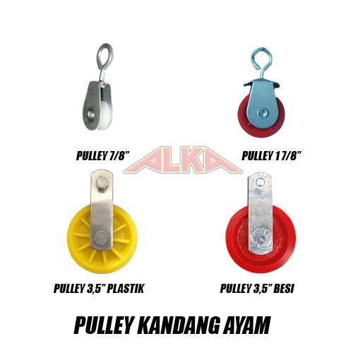 """Pulley kandang ayam close house, pulley kandang ayam open, pulley kecil, pulley medium, pulley besar plastik, pulley besar besi, pulley 7/8"""", pulley medium 1 7/8"""", pulley besar 3,5"""", pulley besi 3,5"""""""